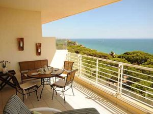 The View across Falesia Beach from Bayside Holiday Rental Apartment, Rent a Casa Albufeira Luxury Holiday Apartment, Luxury Holiday Accommodation Albufeira Algarve Portugal