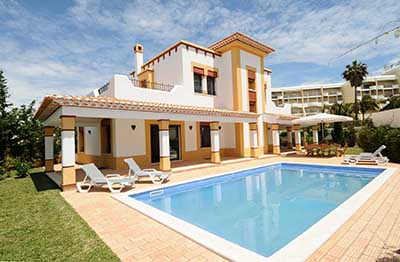The view across the pool at Casa Aziza Holiday Rental Villa, Rent a Casa Albufeira Luxury Holiday Villa, Luxury Holiday Accommodation Albufeira Algarve Portugal